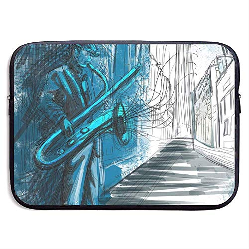 Saxofoon Man Spelen Solo in The Street 15 Inch Laptop Sleeve Bag - Tablet Clutch Draagtas