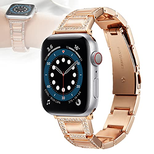 WJMT Compatible con Correa De Reloj De Apple 38 Mm 40 Mm 42 Mm 44 Mm Iwatch Series SE / 6/5/4/3/2/1, Pulsera De Pulsera De Metal De Joyería,42mm/44mm