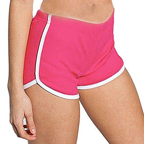 DODOING Damen Sport Shorts Retro Shorts Aktiv Yoga Shorts Hose Hot Pants für Strand Jogging mit Farbig Abgesetzen Rändern