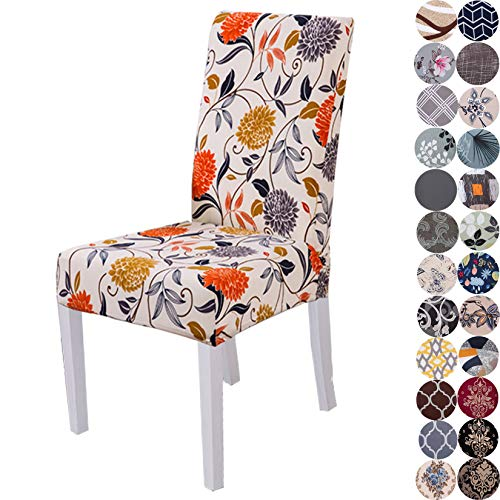 Lalluxy Stretchy Parson Chair Slipcovers for Dining Room Chair seat Covers Chair Protectors for Party Pet Protection Universal Fit Soft Polyester (Set of 4, Orange Flowers)