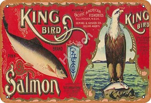 No/Brand King Bird Salmon Metall Blechschild Retro Metall gemalt Kunst Poster Dekoration Plaque Warnung Bar Garage Party Hauptdekoration