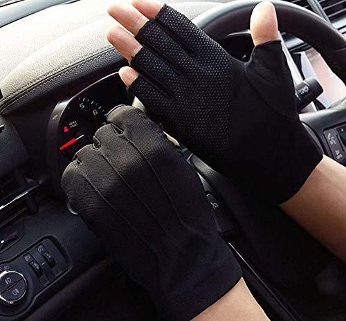 Iywish Handschuhe für Herren und Damen, zum Autofahren, UV-Schutz, fingerlose Handschuhe, Sommer-Handschuhe, rutschfest, Touchscreen, Fitness, Training, Halbfinger, Radfahren, Golfen, Reiten, schwarz