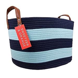 Sweetzer & Orange Large Woven Cotton Rope Storage Basket (Vegan Handles) – Blanket Storage Baskets, Laundry Basket, Toy…