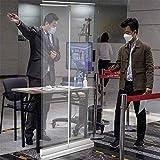WFLRF Niesschutz, Hygieneschutz Rollup Display Mobil, Spuckschutz Rollup Trennwand Hustenschutz Mit Transparenter Folie 85Cm * 200Cm