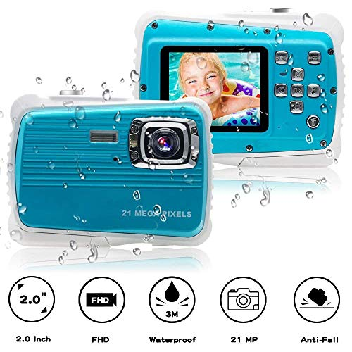 "Kids Camera, Waterproof Kids Camera Best Gifts for Girls Boys 21MP HD Underwater Digital Camera with 2.0"" LCD, 8X Digital Zoom, Flash and Mic"