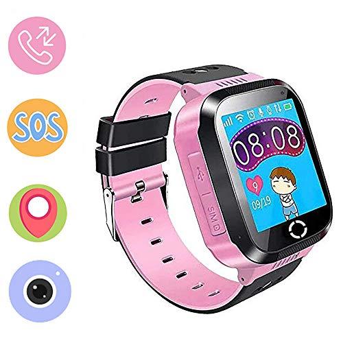 Jaybest Reloj Niños GPS Track SmartWatch Phone, Smartwatch para niñas y niños con Cámara Juegos Linterna Chat SOS Ranura para Tarjeta Pantalla Táctil Reloj Childrens Gift (A15-Pink)