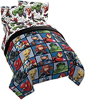 Jay Franco Marvel Avengers Team 5 Piece Full Bed Set - Includes Comforter & Sheet Set - Super Soft Fade Resistant Polyester - (Official Marvel Product)