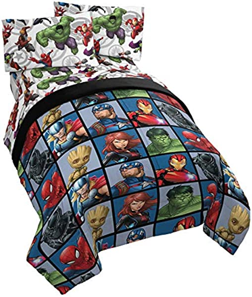 Jay Franco Marvel Avengers Team 5 Piece Full Bed Set Includes Reversible Comforter Sheet Set Super Soft Fade Resistant Polyester Official Marvel Product