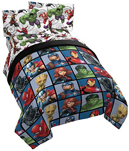 Jay Franco Marvel Avengers Team 5 Piece Full Bed Set - Includes Comforter & Sheet Set - Super Soft Fade Resistant Polyester - (Official Marvel Product)