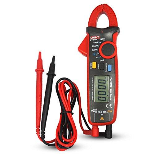 UNI-T UT210E Digitale Strommesszange Amperemeter Voltmeter Vollautomatisch AC DC Multimeter Zange zum Messen von Wechselstrom, GleichStrom, AC/DC Spannung, Widerstand, Ohm