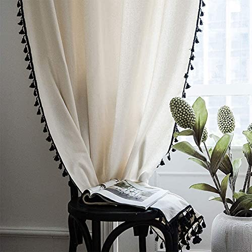Boho Curtains with Tassels - Cotton Linen Curtains 62 Inch Length 2 Panels, Room Darkning Bohemian Window Curtains for Living Room, Bedroom, Farmhouse, Dining Room (Off White, 52 x 63 Inch)