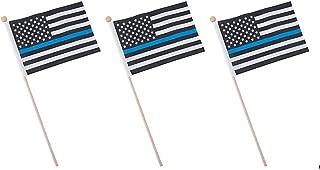 Fun Express 12 Thin Blue Line American Flags 6x4 inch on 11 Inch Sticks