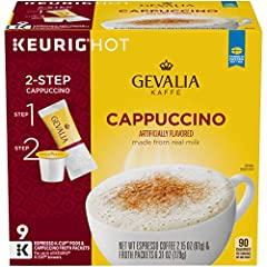 Four 9 count boxes of Gevalia Cappuccino K Cup Espresso Pods with Cappuccino Froth Packets Gevalia Cappuccino K Cup Espresso Pods with Froth Packets add cafe style foam to your cup Latte froth made from real milk for a smooth and creamy taste Rich es...
