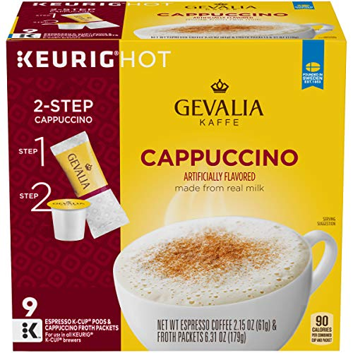 Gevalia Cappuccino Espresso K-Cup Coffee Pods & Froth Packets (36 Pods and Froth Packets, 4 Packs of 9)