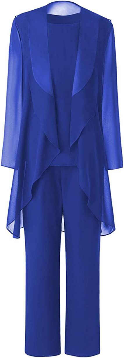 Zeattall Women's Plus Size Mother of Bride Dresses with Jacket for Wedding Three Pieces Mother of Bride Groom Pant Suits