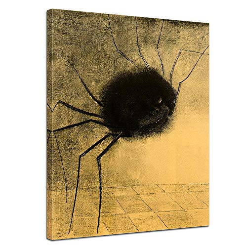 Leinwandbild Odilon Redon Die lächelnde Spinne - 50x70cm hochkant - Wandbild Alte Meister Kunstdruck Bild auf Leinwand Berühmte Gemälde