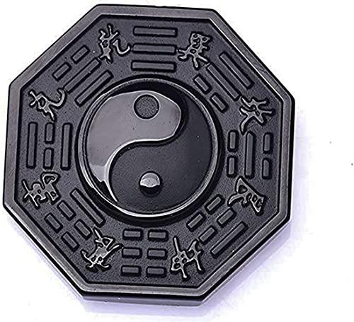 Collar de obsidiana Yin Yang, colgante de Tai Chi Bagua, collar de amuleto de cuerda trenzada Yin Yang para hombres y mujeres (Colgante desnudo 1pcs)