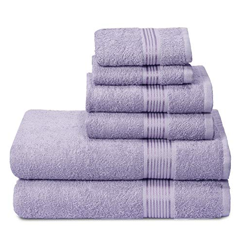 Elvana Home Ultra Soft 6 Pack Cotton Towel Set, Contains 2 Bath Towels 28x55 inch, 2 Hand Towels 16x24 inch & 2 Wash Coths 12x12 inch, Ideal for Everyday use, Compact & Lightweight - Dark Purple