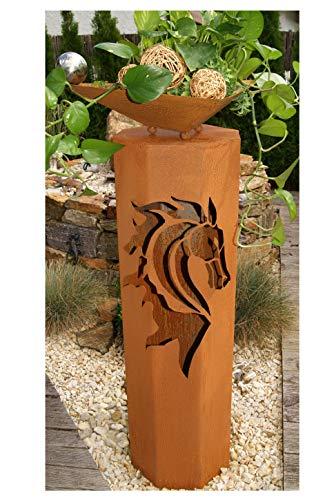 8-Eck Säule Pferd + Schale Modern Edelrost Rost Metall Gartendeko Garten Stele