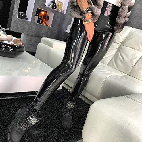 NORMOV manera de las señoras de las polainas de cuero de la PU pantalones polainas gótico inconsútil Negro largo delgado de las mujeres de cintura alta polainas flacas ( Color : Black1 , Talla : XXL )