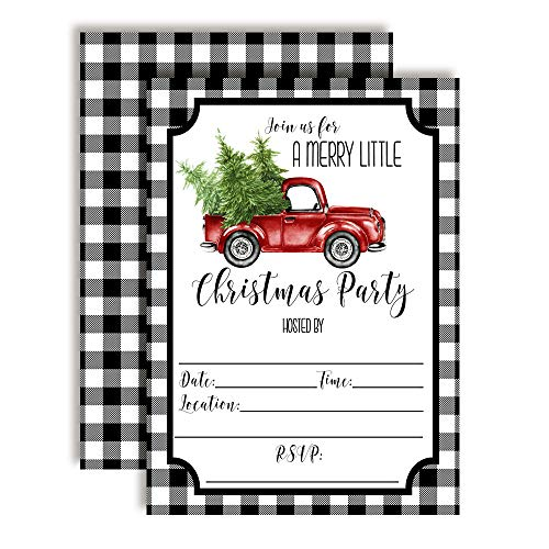 Black Buffalo Plaid Red Watercolor Pickup Truck Christmas Holiday Party Invitations, 20 5'x7' Fill in Cards with Twenty White Envelopes by AmandaCreation