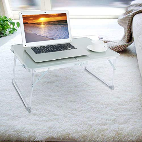 Jeash Multifunction Computer Desk Study Desk Folding Laptop Table for Home Notebook Bed Desk Aluminum Outdoor Folding Table Portable Camping Table Outdoor Party Table[Ship from USA Directly] (Silver)