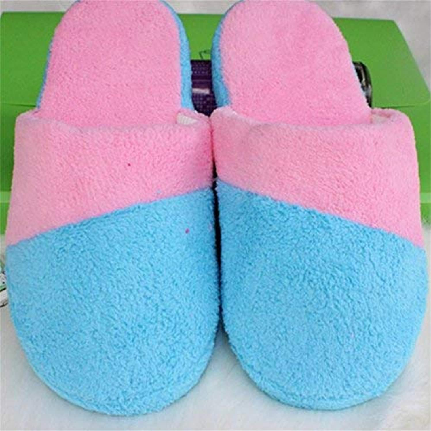 Lady Slippers Ladies Casual Cotton Slippers of Soft Keep Warm in Autumn and Winter Patchwork color Stylish Super Soft Plush House Slippers