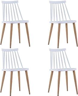 Festnight 4 Unidades Sillas de Comedor Blanco 42 x 45,5 x 78 cm Sillas Cocina Plástico y Acero