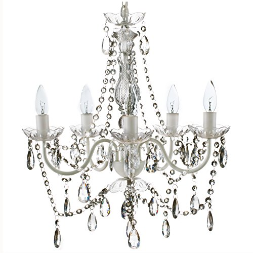 "The Original Gypsy Color 5 Light Medium Crystal Chandelier H21"" W19"", White Metal Frame with Clear Acrylic Crystals (Better than Glass)"