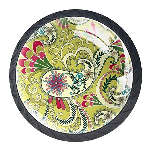 National Wind Illustration Set de 4 pomos redondos para aparador – Colorido decorativo floral cajón manija decoración del hogar Hardware Pull Pomos