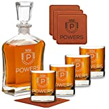 Personalized Whiskey Decanter Set with 4 Scotch Glasses - 9 Premium Designs - Perfect Custom Gift Sets for Bourbon Lovers - Great Birthday, Christmas, Anniversary Present for Him - Engraved by Froolu