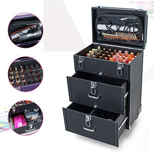 QINYUP Maquillage Nail Box Professional Multi-Couche Multi-Fonctionnelle Maquillage de Tatouage et de Maquillage Tattoo Sourcils Kit de Stockage Chariot,Noir