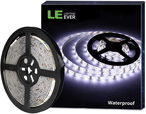 LE 5M Waterproof LED Strip Light, Daylight White 6000K, IP65 Indoor and Outdoor Lighting, 1200lm Bright LED Tape Lights for Bedroom, Kitchen, Caravan and More (12V Power Supply Required)