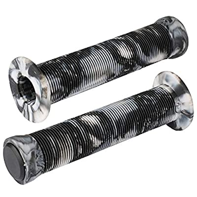 Kutrick BMX Bike Handlebar Grips - Soft 145mm Flange Longneck ST Grips for BMX Bike Bicycle Bars and Scooter Bars with Plug End -Stylish Multiple Colors Available