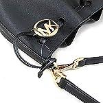 Fashion Shopping Michael Kors Women Trista Medium Bucket Messenger Leather Hand Bag, Black, N/S