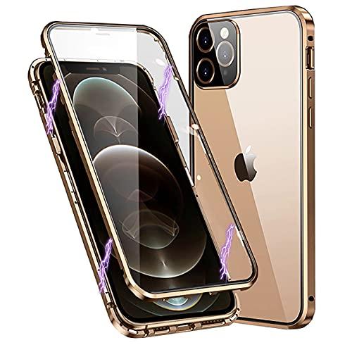 RAYOO Funda para iPhone 12 Pro,360 Grados Carcasa con Protector de Pantalla y Protector de Lente de Cámara Integrados,Adsorción Magnética Marco Protector Metal Full Body Transparente Case Cover,Oro