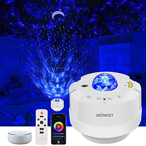 LED Sternenhimmel Projektor Lampe, WiFi Smart 360° Wasserwelle Galaxy Projektor Lampe mit Timer/Sprachsteuerung/Fernbedienung für Baby, Kinder, Tiefschlaf, Schlafzimmerparty Weihnachten Ostern-Schlaf
