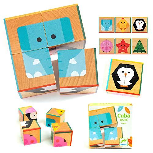 木製パズル 動物 キューブパズル ブロック 絵合わせ 回す 知育玩具 2歳 木のおもちゃ 1歳 赤ちゃん 誕生日プレゼント [ DJECO ジェコ 4キューブ キューバ ベーシック ](DJ06208)