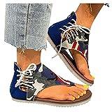 Chaussures à glissière Camouflage d'été pour Femmes Sandales Respirantes à Bout Ouvert pour Plage Plate