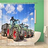 Awowee Bathroom Shower Curtain Red Sale Agricultural Machinery Tractor Standing in Row Yellow Polyester Fabric 72x78 inches Waterproof Bath Curtain Set with Hooks