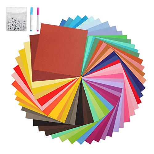 DONQL Papel para origami de colores, papel plegable de doble cara para origami con ojos móviles para principiantes y manualidades (100 hojas de 20 x 20 cm)