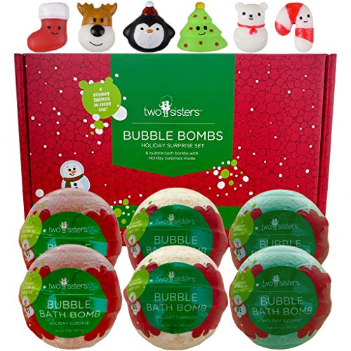 Squishy Bubble Bath Bombs for Kids with Surprise Squishy Toys Inside by Two Sisters. 6 Large 99% Natural Fizzies in Gift Box. Moisturizes Dry Skin. Releases Color, Scent, Bubbles (Christmas)
