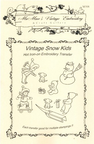 Vintage Snow Kids Hot Iron Embroidery Transfers