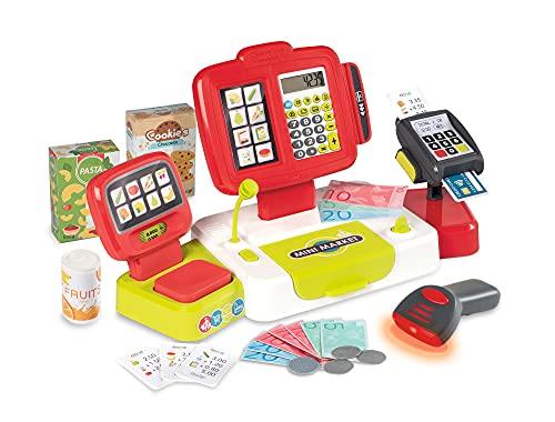 Smoby Caja registradora electrónica Infantil roja, con función de calculadora Real, 17 Accesorios, Medidas: 39 x 21,5 x 16cm, Adecuado a Partir de 3 Años, Color (350111)