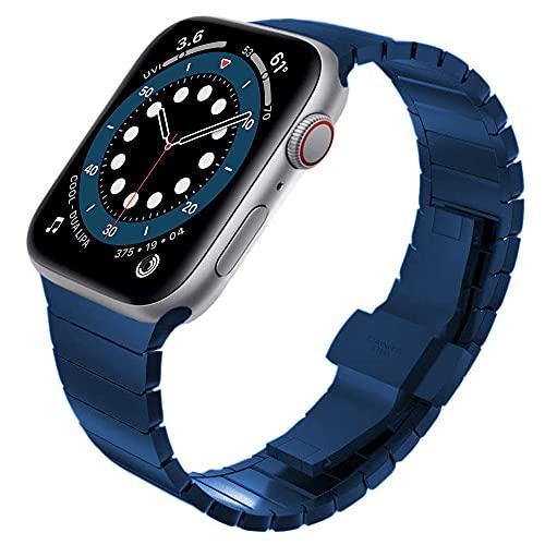 Correa Metálica de Reloj Banda de Reloj de Pulsera 44 mm 40 mm Acero Inoxidable Correa para Correa 42mm 38mm Reloj de Reloj Correa Reloj (Band Color : Blue, Band Width : 40mm)