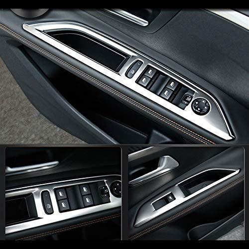 Interior automotriz Acero inoxidable en forma for el Peugeot 3008 GT 2017 2018 2019 Panel de Interruptores Accesorios ventana de coche cubierta de la ventana de control de compensación Car Styling LHD