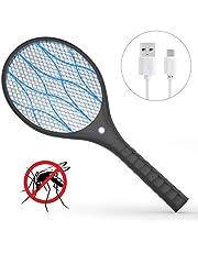 Xddias Raqueta Mosquitos Eléctrico, Anti Moscas Insectos Zapper Swatter Electrica, USB Recargable, 4000 Voltios, Iluminación LED, Dos Capas de rotección de Malla
