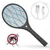 Xddias Raquettes Électriques Anti-Moustiques, USB Rechargeable Tapette à Mouche Electrique Tue Insectes Raquette, avec Éclairage LED et Double Couche de Protection en Maille