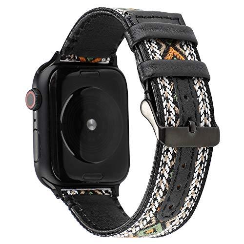 Cinturino in Nylon Stile Bohemien Compatibile Con Apple Watch 38/40/42/44Mm Cinturino Di Ricambio Per Orologio Sportivo Traspirante E Intelligente Cinturino in Pelle Per Iwatch Serie 1 2 3 4 5 ,D,44MM