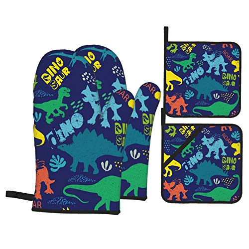 Dfform Heat Resistant Oven Mitts and Pot Holders 4 Pcs Sets Seamless Dino Pattern Print Tshirts Textiles Kitchen Cooking Gloves for Microwave Baking Grilling BBQ